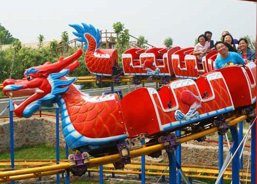 Amusement park dragon slide roller coasters